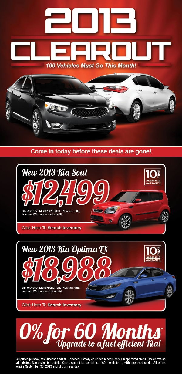 2013 Kia Clearance Sale Camelback Kia New Car Offers