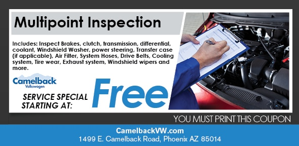 Multi-Point Inspection Coupon, Phoenix Volkswagen Service Special. If no image displays, this offer has ended.
