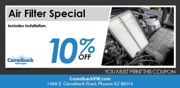 Engine Air Filter Coupon, Phoenix Volkswagen Service Special. If no image displays, this offer has ended.