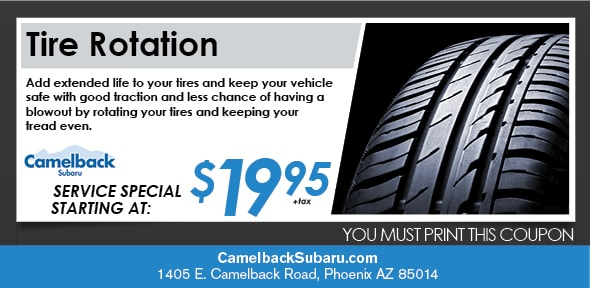 Tire Rotation Coupon, Phoenix Subaru Service Special. If no image displays, this offer has ended.