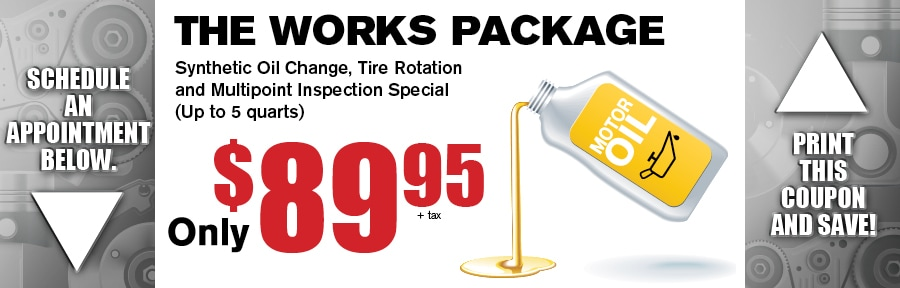 Auto Service Coupon Synthetic Oil Change Tire Rotation Inspection