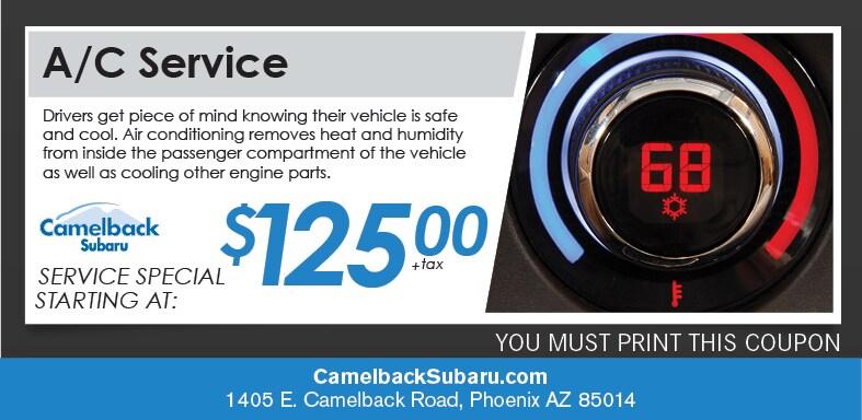 A C Service Special Camelback Subaru Service Coupon