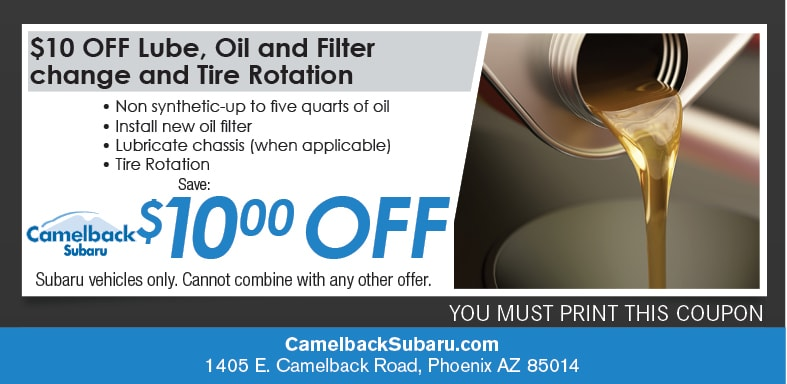 Oil Change & Tire Rotation Coupon, Phoenix Subaru Service Special. If no image displays, this offer has ended.