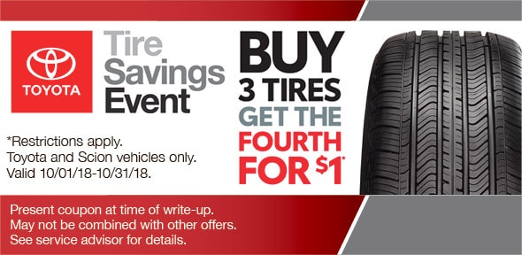 Toyota Tire Deals >> Buy Three Tires Get One For 1 Camelback Toyota