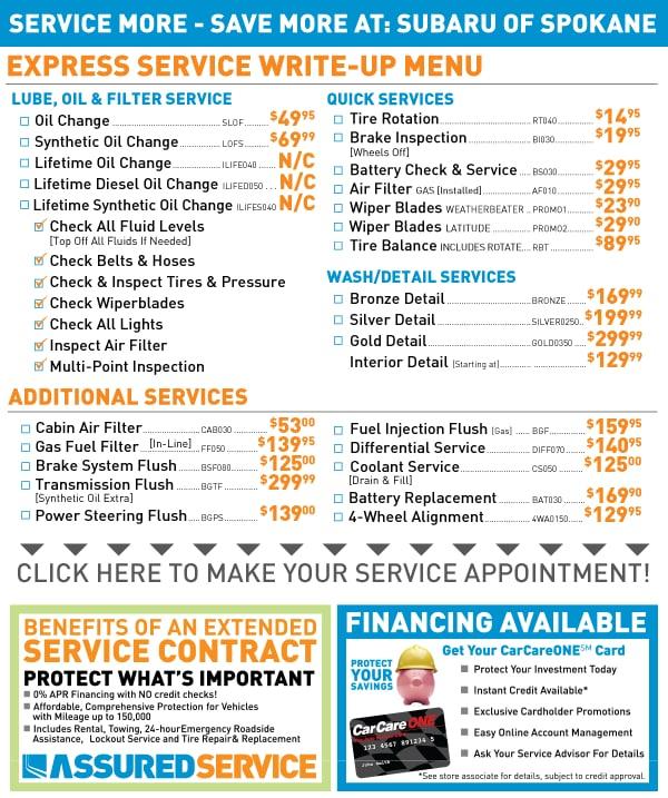 Spokane Service Menu Schedule Subaru Service Repair Online