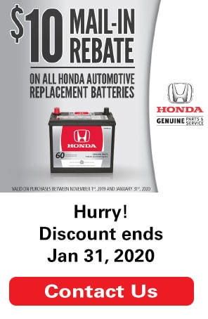 $10 Mail-In Rebate on All Honda Automotive Replacement Batteries