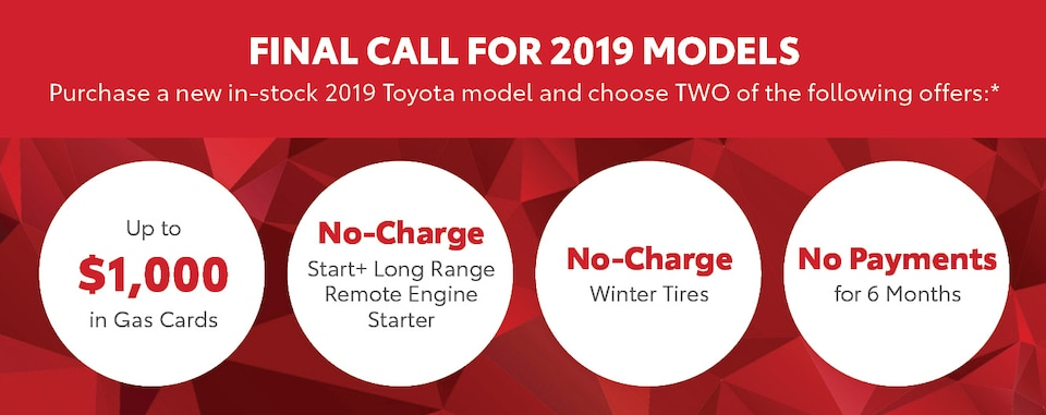FINAL CALL FOR 2019 MODELS