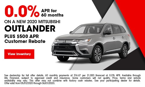 0.0% APR for 60 months On A New 2020 Mitsubishi Outlander