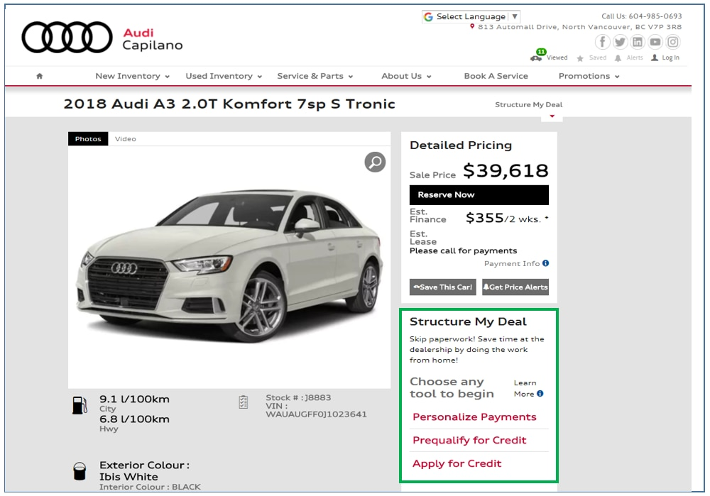 Capilano Audi New Audi Dealership In North Vancouver BC VP R - Audi online payment