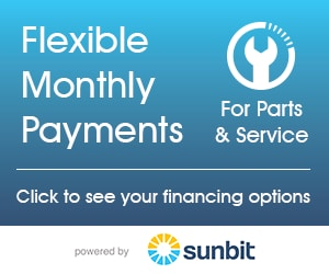 Flexible Monthly Payments for parts & service. Click to see your financing options.