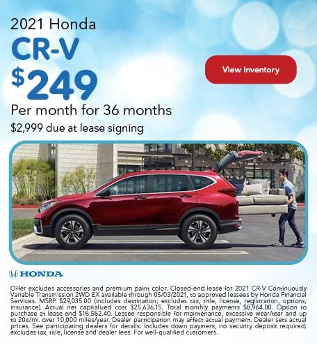 2021 Honda CR-V - $249 Per month for 36 months