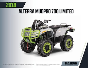 2018 ARCTIC CAT Mudpro 700 Limited EPS FINANCING AS LOW AS 3.99%