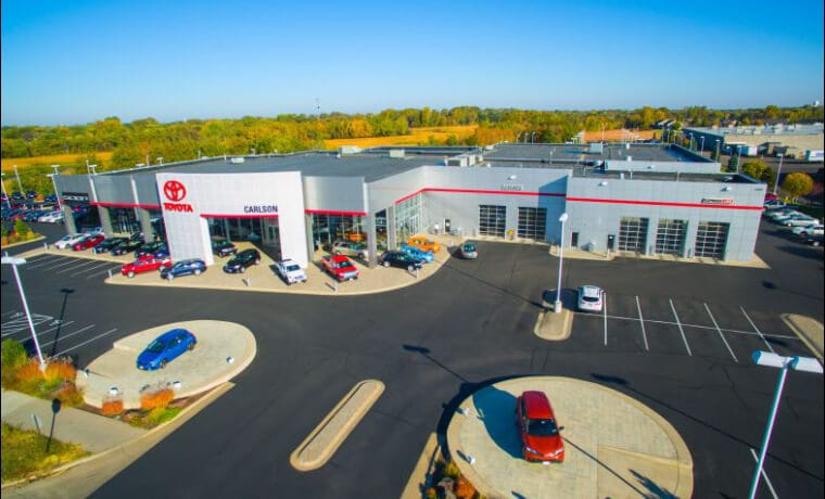 Carlson Toyota Aerial Dealership Shot