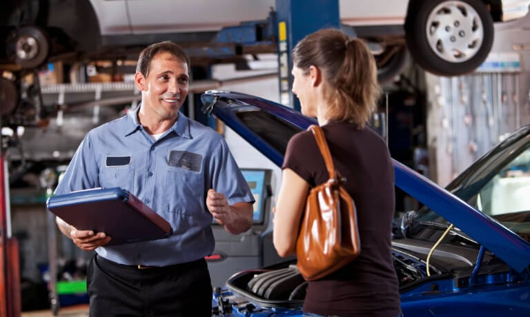 Service Advisor talking to a customer