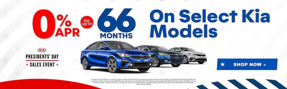 0% APR for up to 60 Months on Select Kia Models