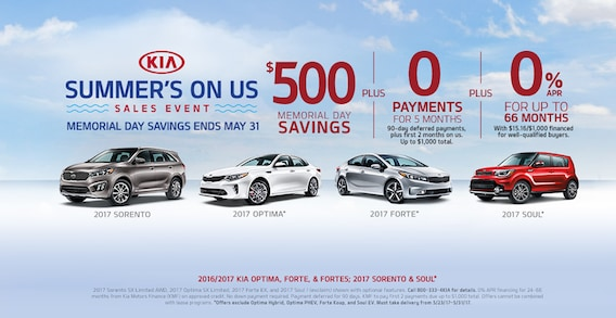 Memorial Day Car Sales 2017 >> Summer S On Us Sales Event Car Pros Kia Tacoma