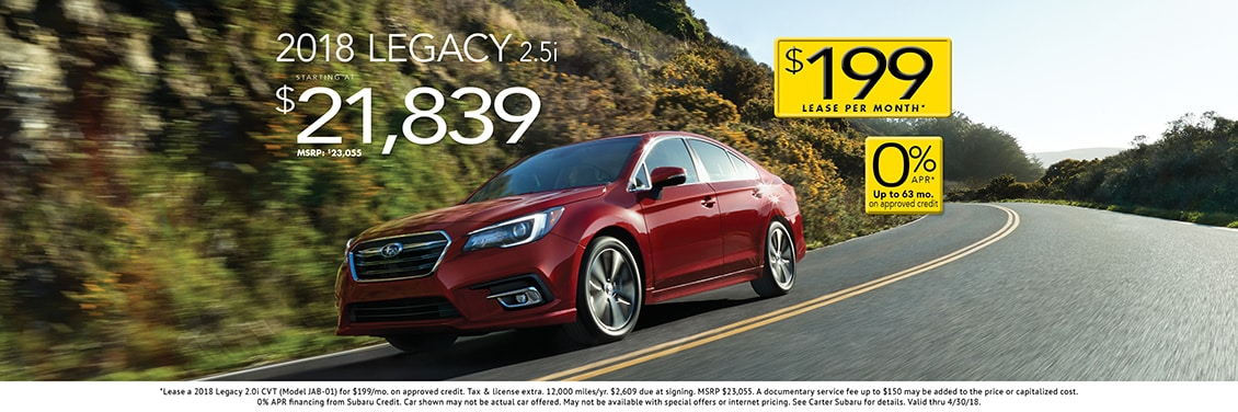 2018 Legacy 2.5i CVT sales & low APR special at Carter Subaru Shoreline in Seattle, WA