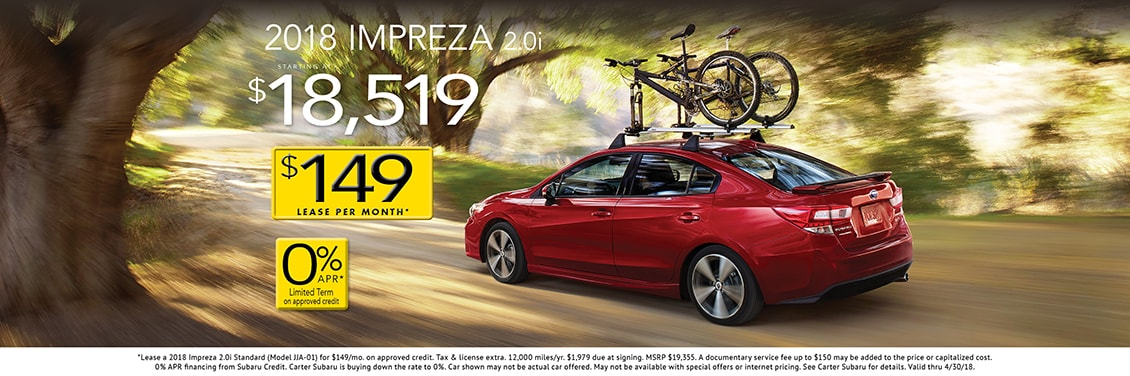Save on a 2018 Impreza 2.0i Sedan purchase at Carter Subaru Shoreline in Seattle, WA
