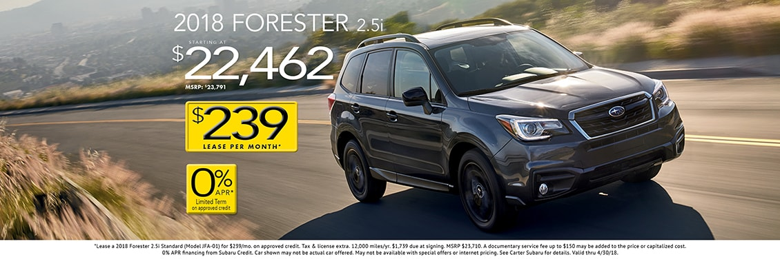 2018 Forester 2.5i 6MT purchase special at Carter Subaru Shoreline in Seattle, WA
