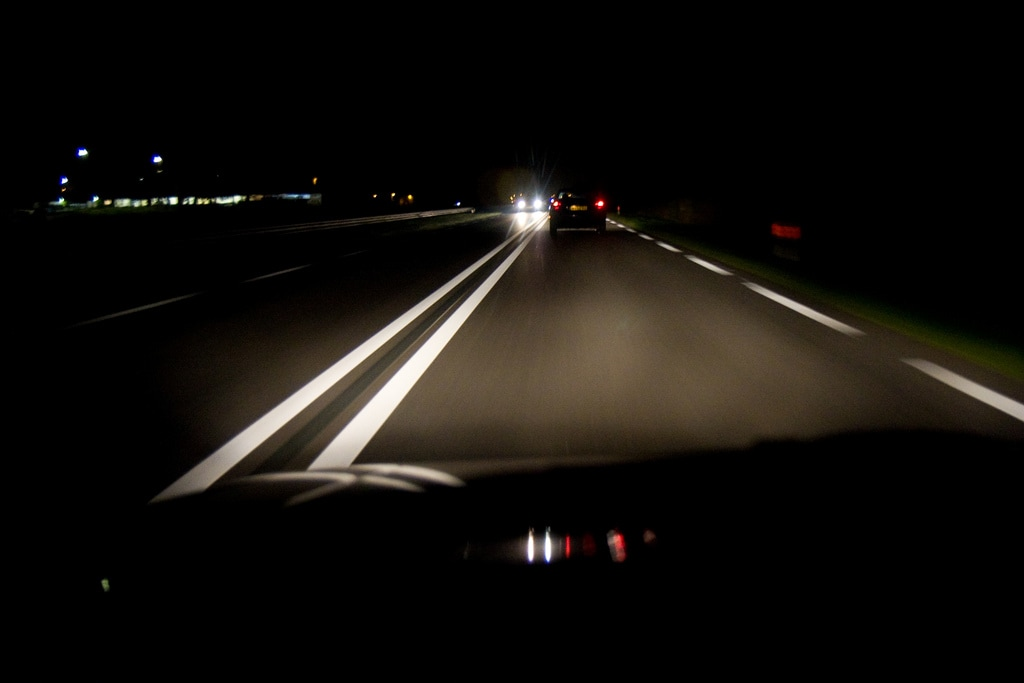 Driving at Night in a Mitsubishi