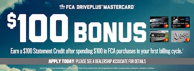 Save $100.00 + 0% Interest With a New FCA Drive Mastercard