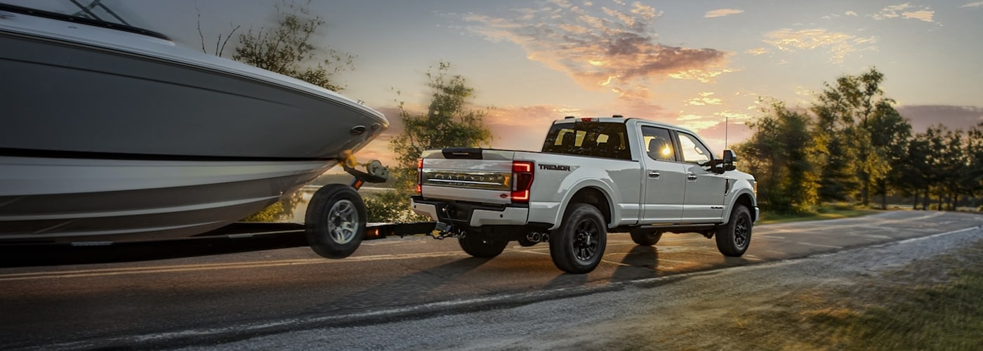 White 2020 Ford F-250 Towing Boat