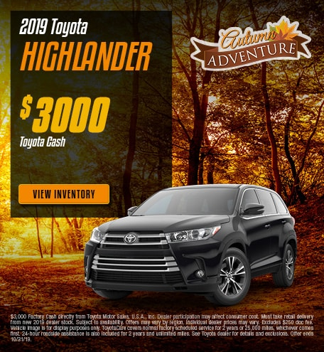 New 2019 Toyota Highlander | Cash Back