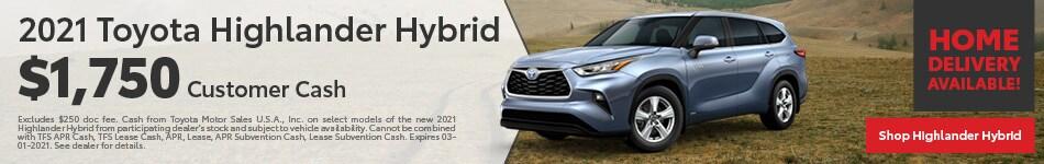 New 2021 Toyota Highlander Hybrid | Customer Cash