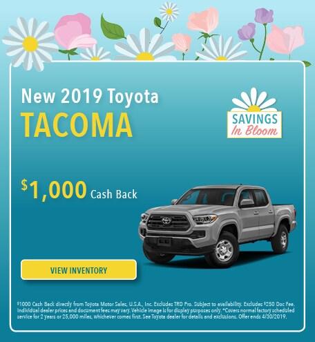 April 2019 Toyota Tacoma Cash Back