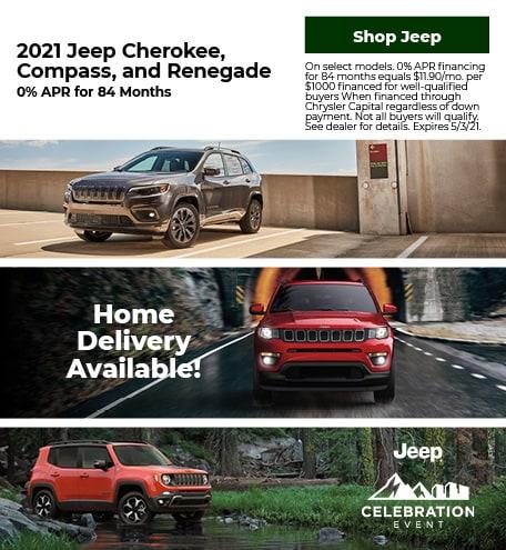 New 2021 Jeep Cherokee, Compass, Renegade   0% APR