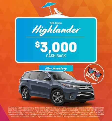2019 Toyota Highlander Cash Back