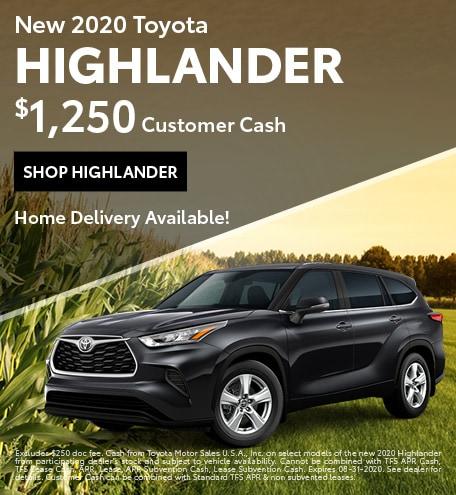 New 2020 Toyota Highlander | $1,250 Customer Cash