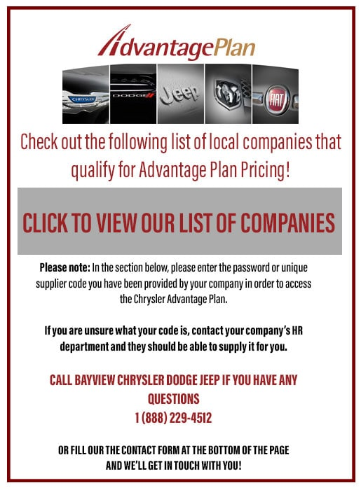 Bayview Chrysler Dodge Ltd New Jeep Dodge FIAT Chrysler Ram - Chrysler affiliates list