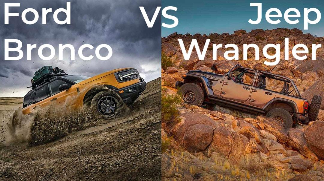 Comparatif entre le Ford Bronco 2021 (gauche) et le Jeep Wrnagler 2021 (droite)