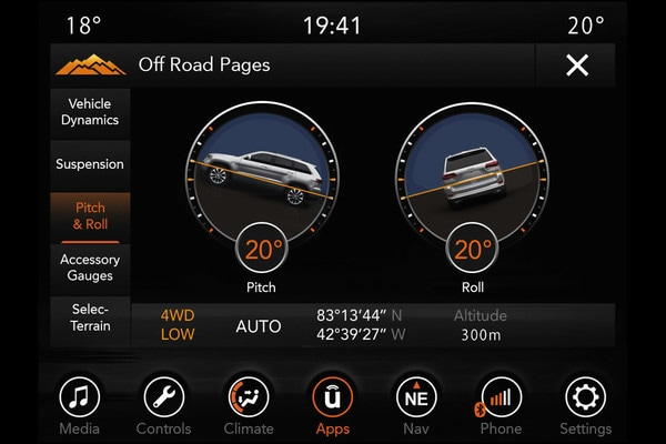 2020 Jeep Grand Cherokee technology feature screen pitch and roll