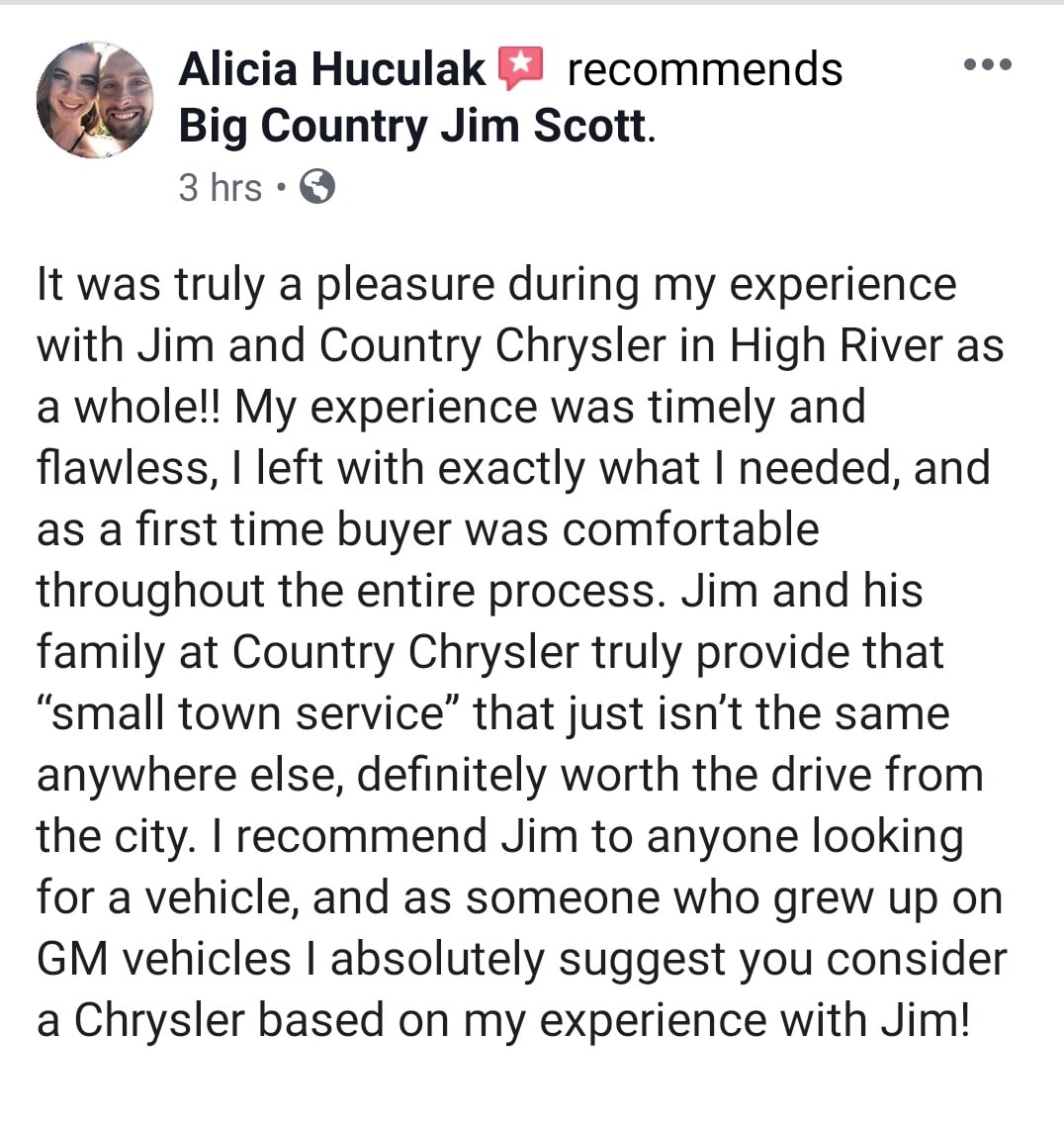 High River Country Chrysler Customer Testimonial