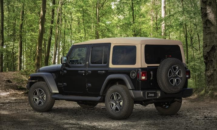 Jeep Wrangler 2020 édition Black & Tan, vu de dos, de biais
