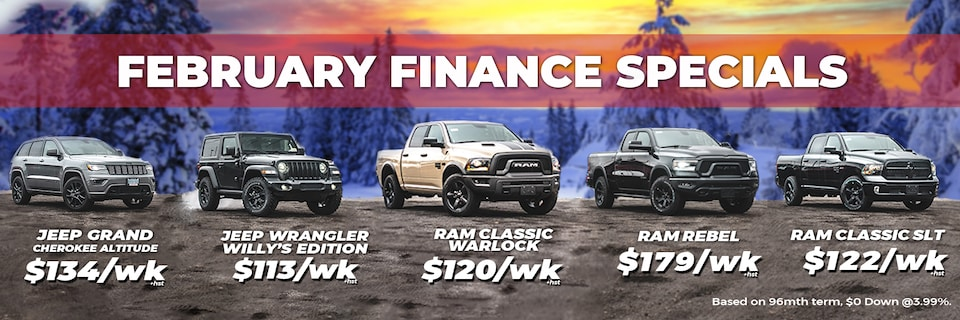 FEBRUARY FINANCE SPECIALS - No Payments For 90 Days!