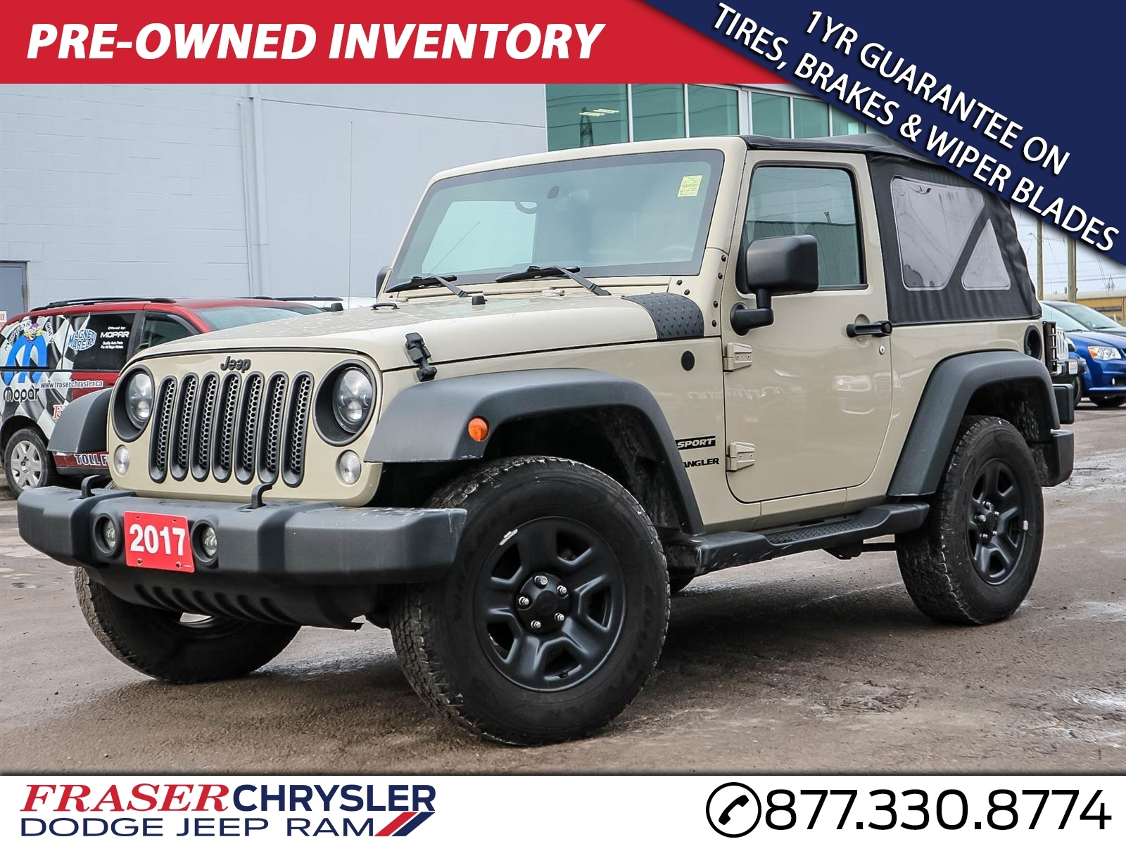 Featured 2017 Jeep Wrangler Sport AUTOMATIC, AIR CONDITIONING, EXTENDED WARRANTY INC for sale in Oshawa, ON