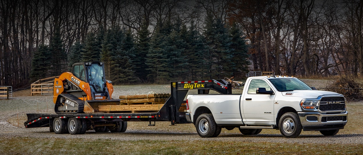 2020 Ram 3500 Towing A Construction Loader