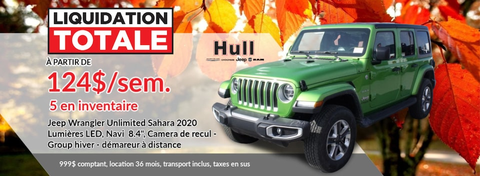 LIQUIDATION TOTALE Jeep Wrangler Unlimited Sahara