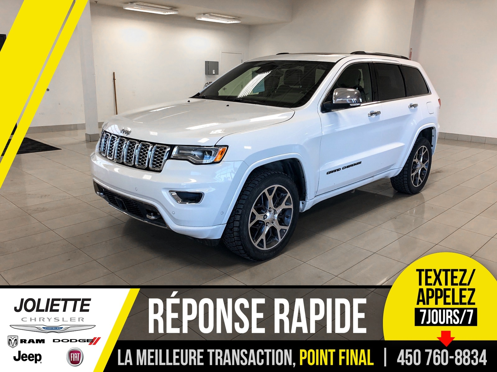 2019 Jeep  Grand Cherokee Overland 4x4, V8, CUIR, TOIT, NAVIGATION!!