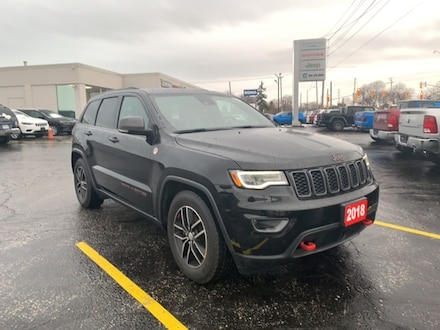 2018 Jeep Grand Cherokee TRAILHAWK|4X4|LOCAL TRADE|ONE OWNER|DVD|HEATED AND SUV for sale in Leamington, ON Black