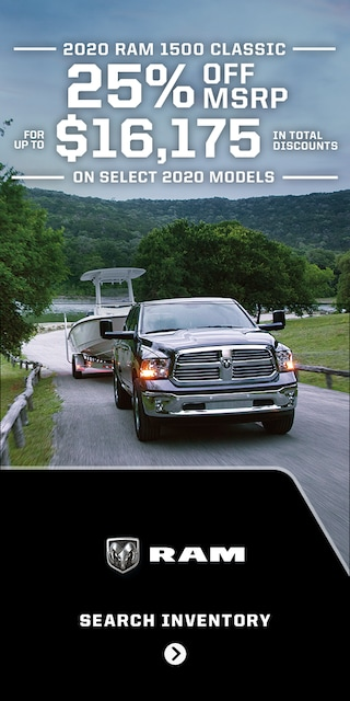 Get 25% OFF of MSPR on  2020 RAM 1500 Classic Models