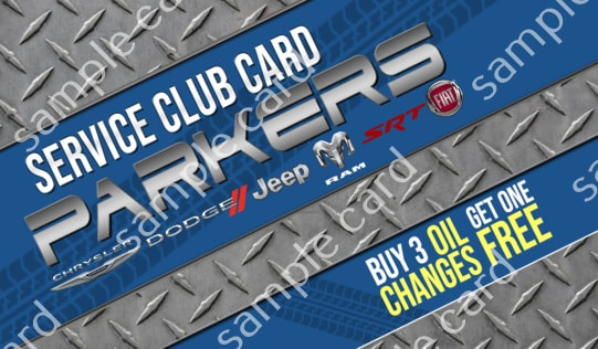 free oil change parkers service club card.