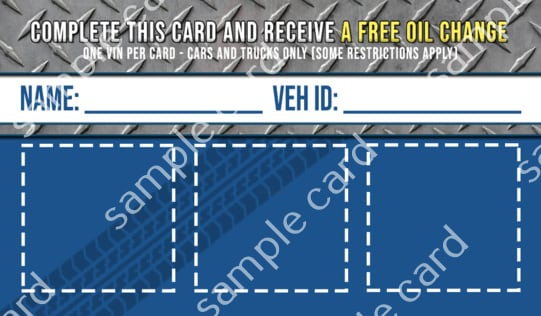 rear of free oil change service club card