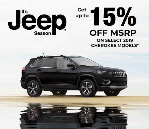 15 Percent Off MSRP on select 2019 Cherokee Models