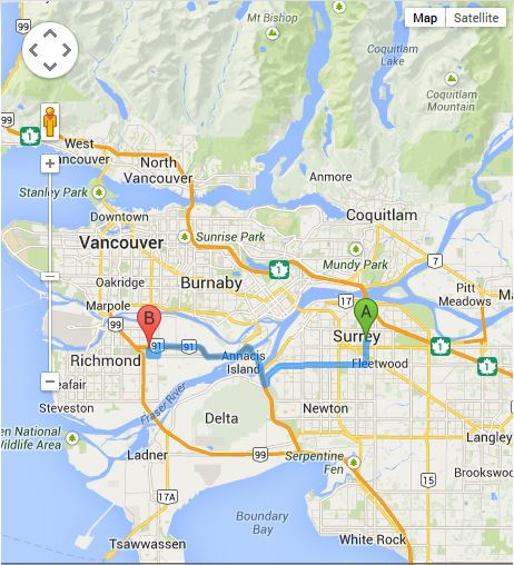 Directions from Surrey BC