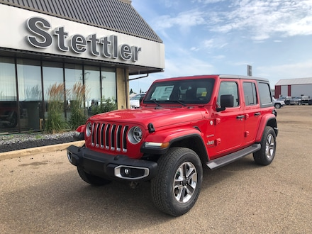 Featured new 2019 Jeep Wrangler Unlimited Sahara SUV for sale in Stettler, AB