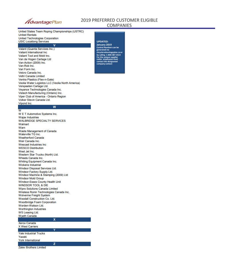 FCA Advantage Program Affiliates | Vaughan Chrysler